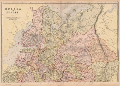 RUSSIA IN EUROPE NORTH. Showing Oblasts. Scale in Versts. BLACKIE 1882 old map