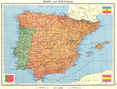 IBERIA. Spain and Portugal 1938 old vintage map plan chart