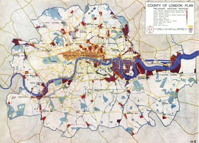 LONDON.Use,Density,Height Zoning.plan preliminary industrial plans 1943 map