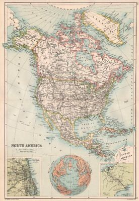 NORTH AMERICA. Inset Chicago & the Panama Canal. BARTHOLOMEW 1891 old map