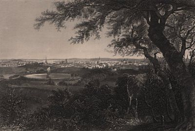 BALTIMORE. View of the city from Druid Hill park. Maryland 1874 old print