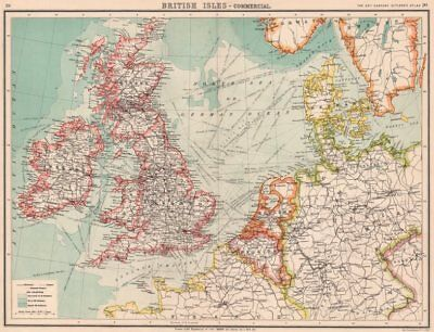 BRITISH ISLES & NW EUROPE TRANSPORT. Steamer routes canals railways 1901 map