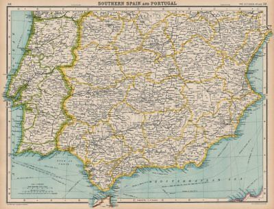IBERIA. Southern Spain and Portugal. BARTHOLOMEW 1924 old vintage map chart