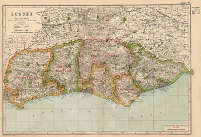 SUSSEX. Showing Parliamentary divisions, boroughs & parks. BACON 1936 old map