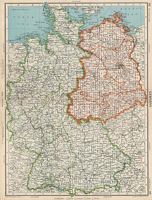 GERMANY. showing post WW2 military zones. British US French Russian 1952 map