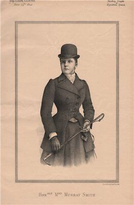 Honourable Mrs. Murray Smith 1892 old antique vintage print picture