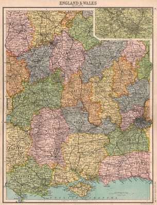 SOUTHERN & CENTRAL ENGLAND. South Coast Home Counties. Inset Birmingham 1898 map