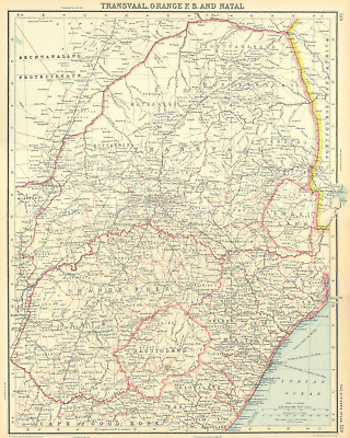 SOUTH AFRICA. Transvaal Orange Free State Natal Swaziland Lesotho 1924 old map