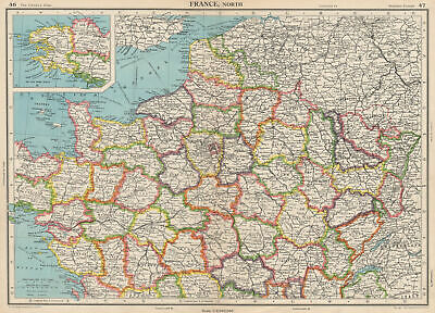 FRANCE NORTH. Shows French-occupied Saarland protectorate. BARTHOLOMEW 1952 map