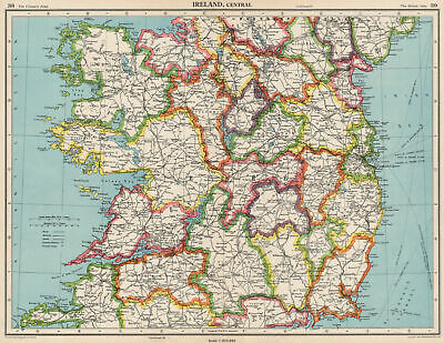 IRELAND CENTRAL. Connaught & Leinster. Eire. BARTHOLOMEW 1952 old vintage map