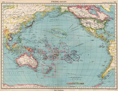 PACIFIC OCEAN.Showing post WW2 colonies.British US French.BARTHOLOMEW 1952 map