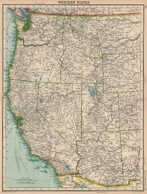 PACIFIC USA. Western States. BARTHOLOMEW 1924 old vintage map plan chart