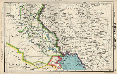 MIDDLE EAST.Persia(Iran)& Iraq south.Kuwait.Iraq/Saudi neutral zone 1952 map
