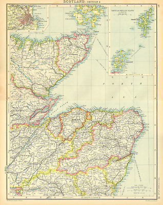 SCOTLAND NORTH EAST.Moray Firth.Orkneys Shetlands.Aberdeen.BARTHOLOMEW 1924 map