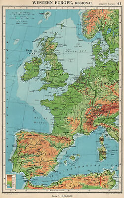 WESTERN EUROPE. Physical & main railways. BARTHOLOMEW 1952 old vintage map
