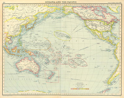 PACIFIC COLONIAL. British French Dutch US Portuguese Japanese 1924 old map