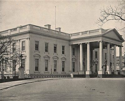 The White House, Washington DC 1895 old antique vintage print picture
