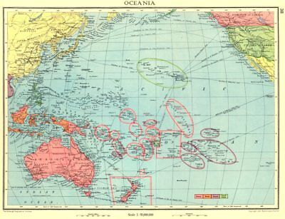 AUSTRALASIA. Oceania; British Dutch French US possessions colonies 1938 map