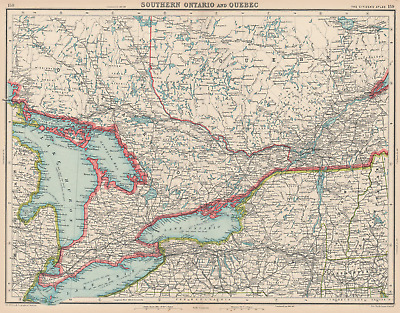 CANADA. Southern Ontario and Quebec. BARTHOLOMEW 1924 old vintage map chart