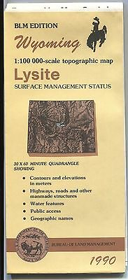 US BLM edition topographic map metric Wyoming LYSITE 1990