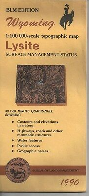 US BLM edition topographic map metric 1990- Wyoming LYSITE good