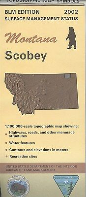USGS BLM edition topographic map Montana SCOBEY 2002  surface