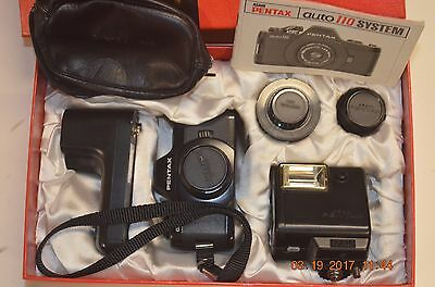 Vintage Auto Pentax auto 110  winder, lenses flash case New in Box