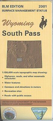 USGS BLM edition topographic map SOUTH PASS Wyoming 2001