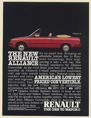 1985 Renault Alliance L Convertible America's Lowest Priced Convertible Print Ad