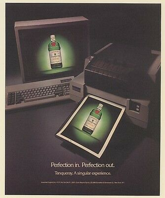 1988 Tanqueray Gin Computer Printer Perfection In Perfection Out Print Ad