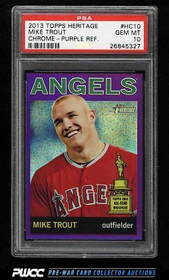 2013 Topps Heritage Chrome Purple Refractor Mike Trout PSA 10 GEM MINT (PWCC)