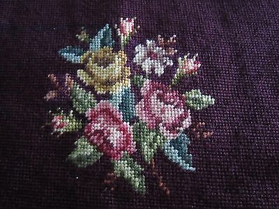 """Vintage Antique Burgundy NEEDLEPOINT with Flowers 17"""" square"""