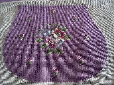 "2 Vintage Antique Pink NEEDLEPOINT with Flowers 20"" Square"