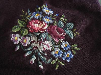 "Vintage Antique Burgundy NEEDLEPOINT with Flowers 26"" x 28"" Austria"