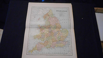 England & Wales Color Map 1882 Beautiful 10 1/2 X 13 See Others