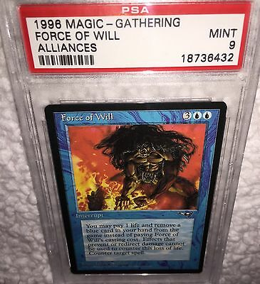 PSA MINT 9 FORCE OF WILL Card ALLIANCES 1996 MTG Magic the Gathering