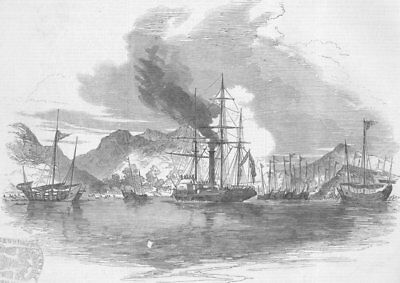 HONG KONG. Capture of Pirate Junks, Mir's Bay, Medea, antique print, 1850