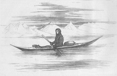 ARCTIC. Greenlander of Sukkertop, his kayak, antique print, 1875