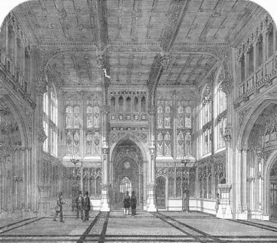 HOUSES OF PARLIAMENT. Westminster. new. Lobby Commons, antique print, 1852