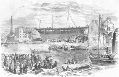 DURHAM. Largest ship launch, Sunderland, antique print, 1855