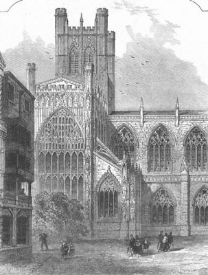 CHESHIRE. Chester Cathedral. South Transept, antique print, 1872
