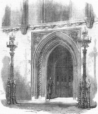 LONDON. Westminster. Members entry to Commons, antique print, 1859