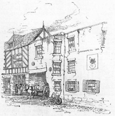 CHESHIRE. Northwich subsidence. Commercial Inn, antique print, 1887