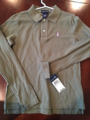 Nwt Polo Ralph Lauren Olive Green L/s Shirt Size Large 12/14 Girls  $45