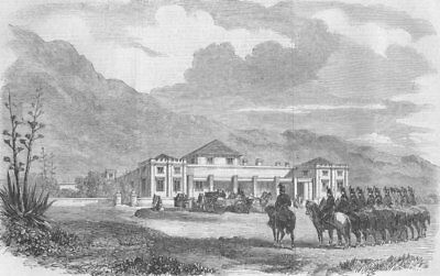 CAPE TOWN. French troops, Sea point house, antique print, 1860