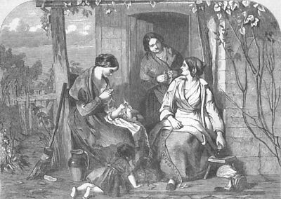 HERTS. Happy Times. Straw-Plaiting, nr St Albans, antique print, 1853