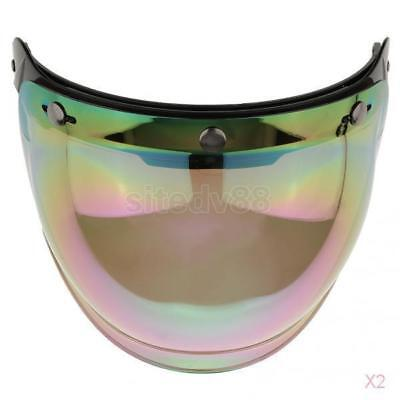 2x Motorcycle 3 Snap Helmet Visor Shield Flip Up Down Lens for Harley Colorful