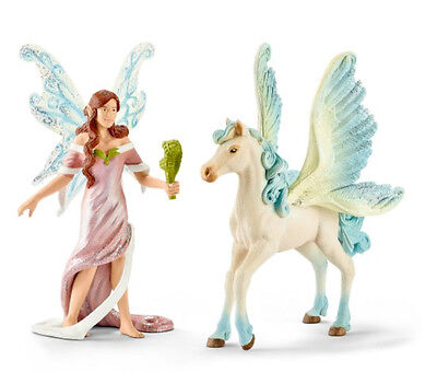 Schleich 70539 Safenja and Pegasus Foal Bayala Toy Model Horse Figurine - NIP