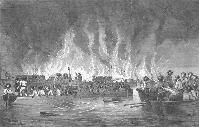 CRIMEAN WAR. Destruction of Russian Vessels at Old Salis. Baltic, print, 1855