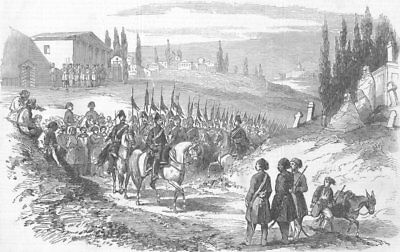 CONSTANTINOPLE (ISTANBUL) . New Regiment of Cossacks of the Don, old print, 1853